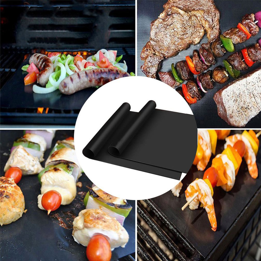 2PCS Black Reusable BBQ Grill Mat Non-stick BBQ Grill Mat Barbecue Pad Barbecue Mat For BBQ