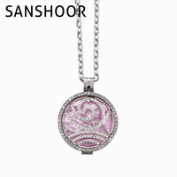 SANSHOOR Jewelry Necklace 1.2MM Sparking Crystal Coin With Pink Shell And Stainless Steel Holder 80CM Link Chain for Women Gift