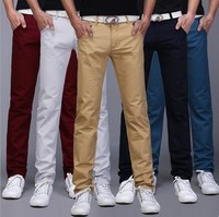 9 di Colore Solido! Mens Casuali Del Cotone Pantaloni Slim Fit Pantaloni Dritti Primavera Estate Khaki Nero Rosso Blu Bianco Verde Militare Grigio Beige