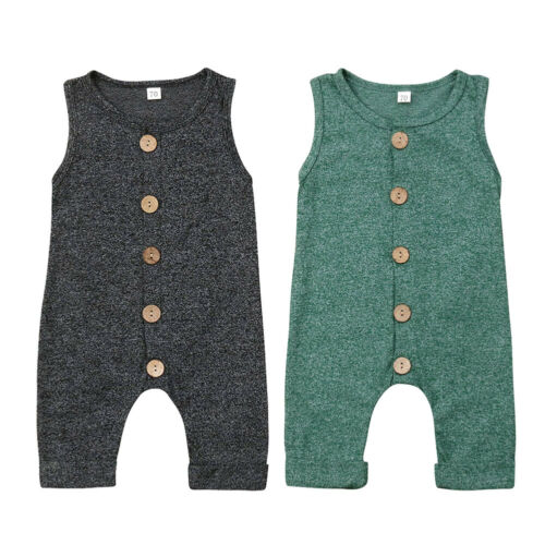 Baby   Romper   Newborn Baby Boy Girl Button Sleeveless Solid   Romper   Sunsuit Summer Outfit Kid Clothes