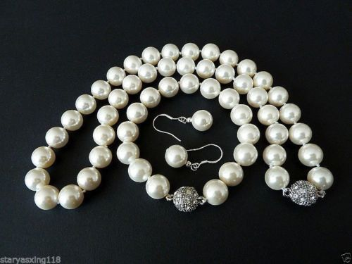 Selling Jewelry>>>10mm white South Sea shell pearl fashion bracelet earring and necklace set