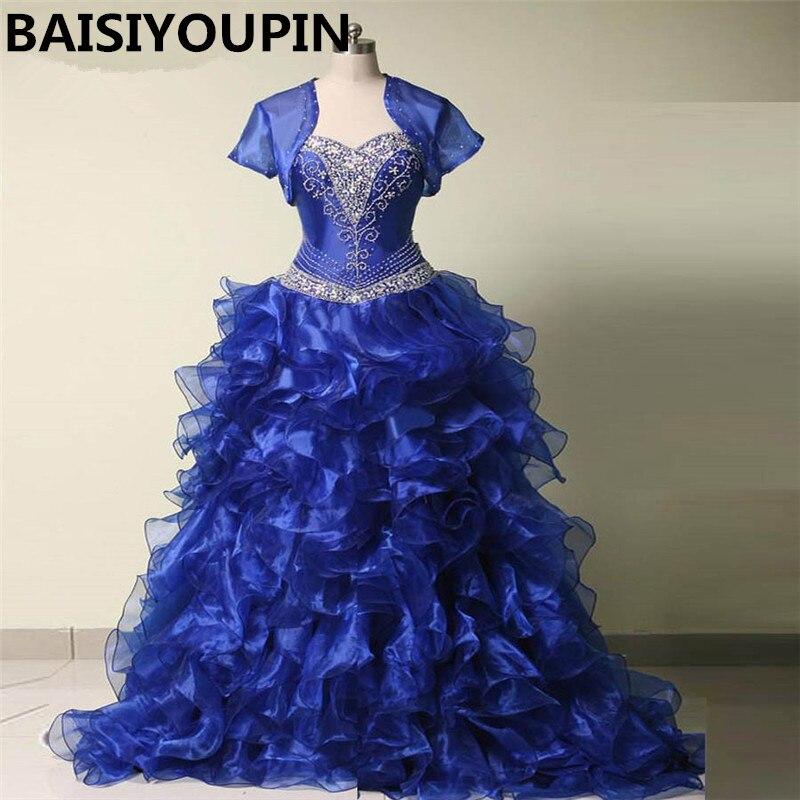Sweet 16 Dresses Vestido De Debutante 15 Anos 2017 Royal Blue Organza Ball Gown Quinceanera Dresses with Jacket
