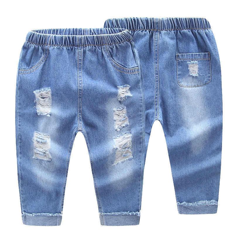 96b947999 Baby Broken-hole Jeans 2018 Spring /Autumn Children's Holes Pants Baby Boys  Cowboy Trousers