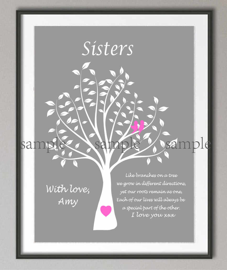 11cbbc88a5771 Personalized Maid of Honor Sister Wedding Gifts Family tree quote poster  print pictures Canvas painting Home decoration sticker