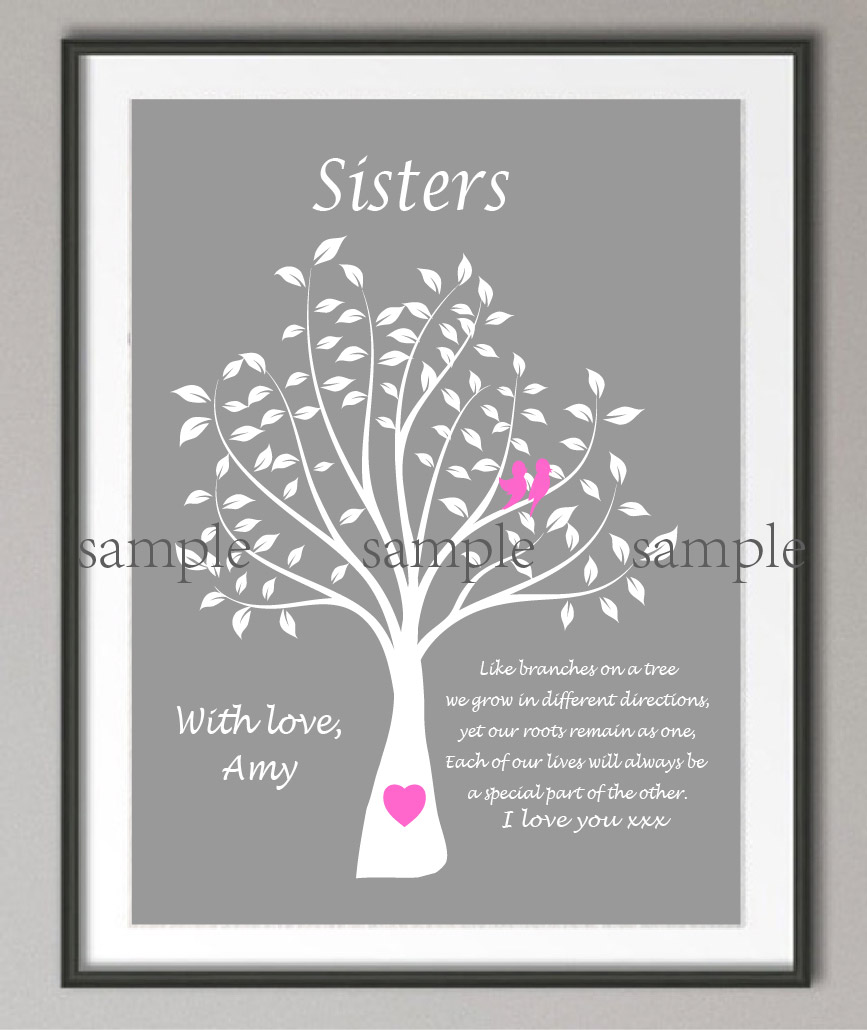 Personalized Maid Of Honor Sister Wedding Gifts Family Tree Quote Poster Print Pictures Canvas Painting Home Decoration Sticker In Calligraphy