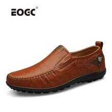 Hecho a mano de los hombres zapatos de los planos más tamaño mocasines Mocasines de cuero genuino los zapatos de conducción ocasionales, Suave y transpirable zapatos de los hombres