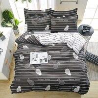 2019 Summer bedding grey stripe duvet cover + flat sheet +pillowcase 3/ 4pcs bed linens White bedding set dog bear bed cover set