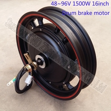 16inch 1500W ZL motor  48V 60V 72V 96V  wide voltage e-bike and  e-scooter high power hub motor wirh drum brake  G-M501