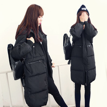 Korean female cotton clothing knee long winter bread thickened Korean star with a cotton padded jacket size couple coat