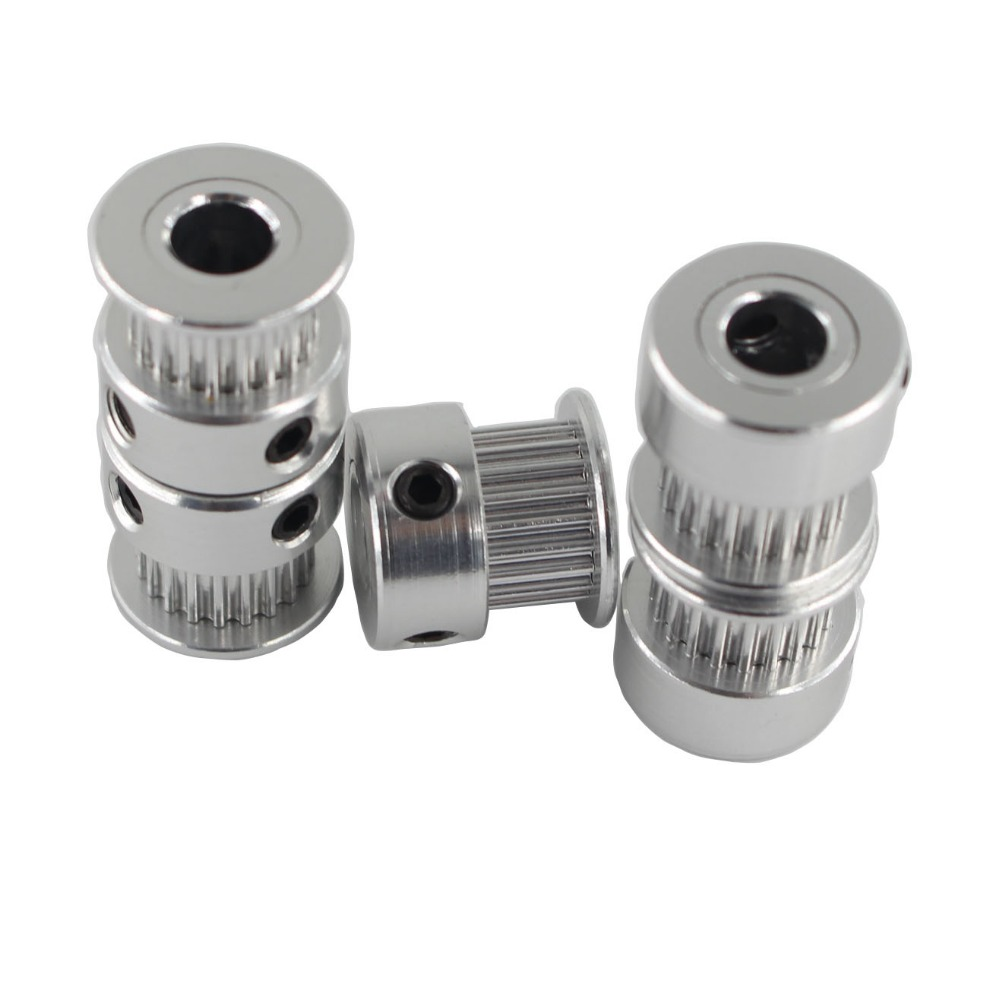 цена 5pcs/lot GT2 Timing Pulley 20 Teeth Wheel Bore 5/6.35/8mm Aluminium Gear Teeth Belt Width 6mm For Reprap Part pulley