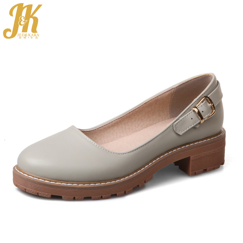 JK Med Heels Women Pumps Round Toe Buckle Strap Mary Jane Square Heels Footwear 2018 Spring Fashion Casual Girl Platform Shoes xexy small square toe medium heels natural leather women shoe spring autumn buckle strap dance party sweet platform women pumps