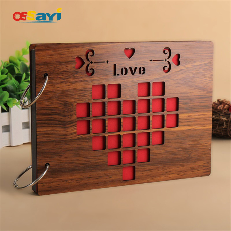 Photo Albums 8 Inch Hot Red Wood Cover Albums Håndlavet Loose-leaf Indlejret Photo Album Personlig Baby Lovers DIY Photo Album