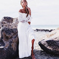 2017 New Free Shipping Bohemia Embroidery Maxi Dress Women's White Elegant Sweet Long Loose Dress Fashion Party Dresses
