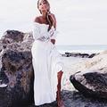 2017 nuevo envío libre de bohemia bordado maxi dress mujeres blanco elegante sweet larga floja dress vestidos de fiesta de moda