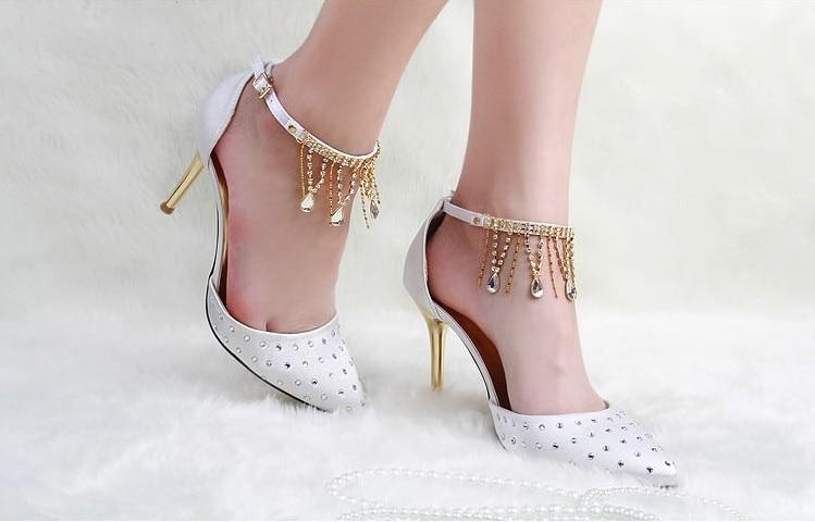 ФОТО Free Shipping Spring Fashion Pumps Summer Rhinestone Deco Shoes Lady Wedding Dress Shoes White Woman Prom Dress Shoes