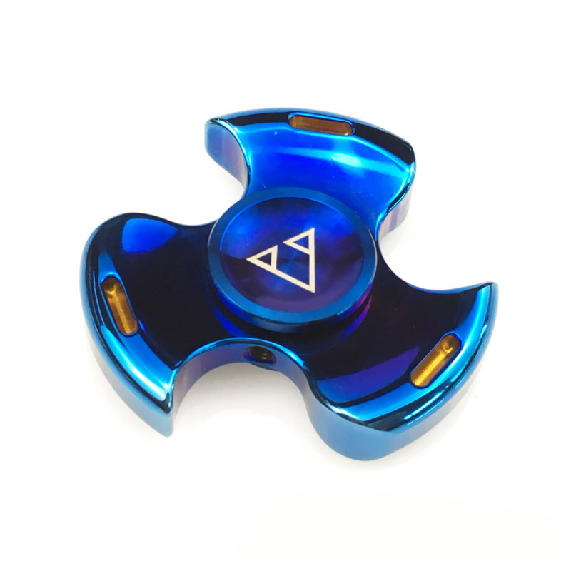 Hottest Fashion Colorful Blue Hand Spinner Anti Stress Tri-spinner Stainless Steel Fidget Toy Anxiety Stress Adults Kid Gift