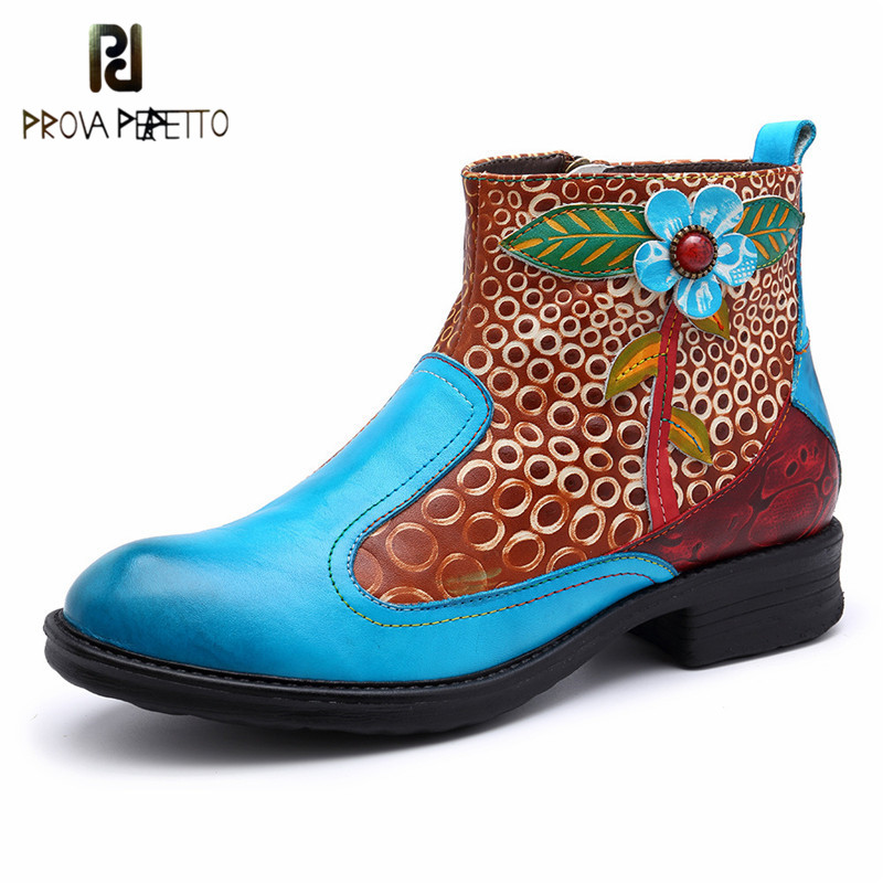 Prova perfetto New Design Mixed Colors Cow Leather Fashion Woman Boots Classics Hand made Low Heels