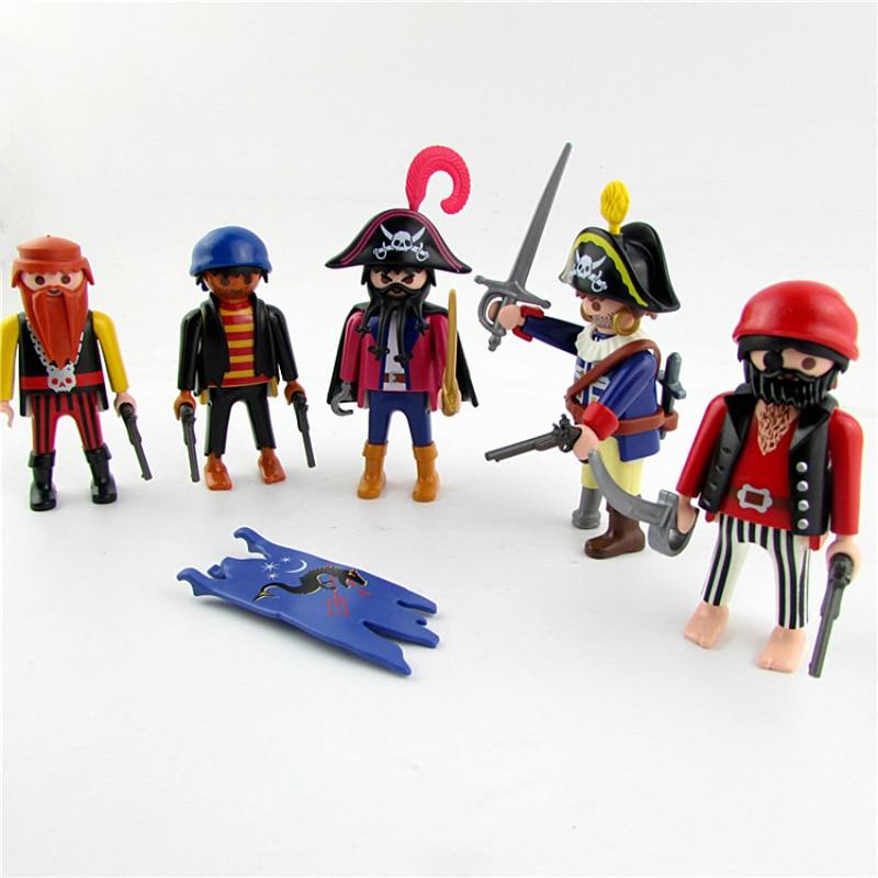 Hot Playmobil Set Pirates Human Figures Action Figures Building Blocks Vinyl Dolls Sets Christmas Gift Toys for Children