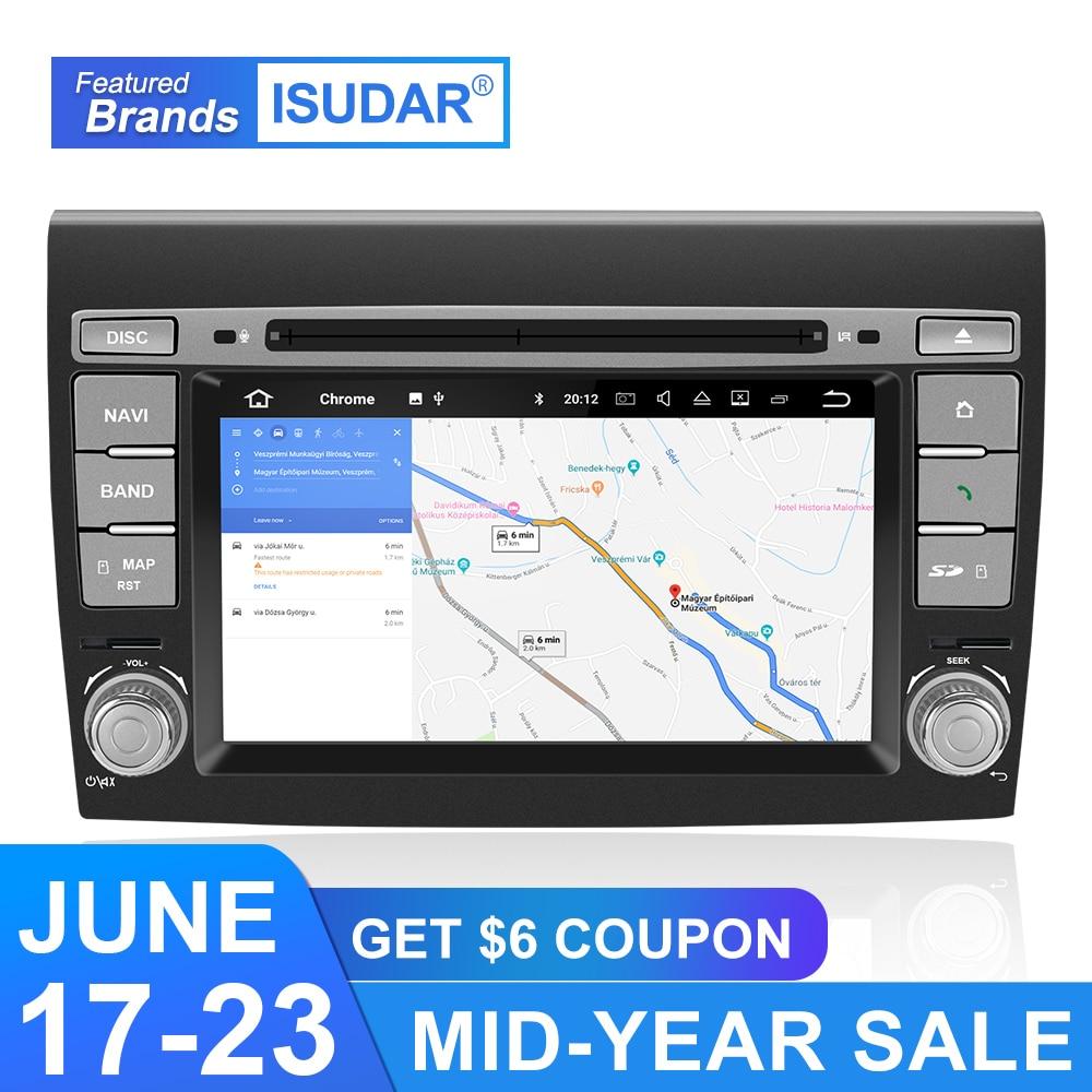 Isudar Car Multimedia Player Android 9 GPS 2 Din Stereo System For Fiat/Bravo 2007-2012 Octa Core 4GB RAM Radio am fm Wifi USB