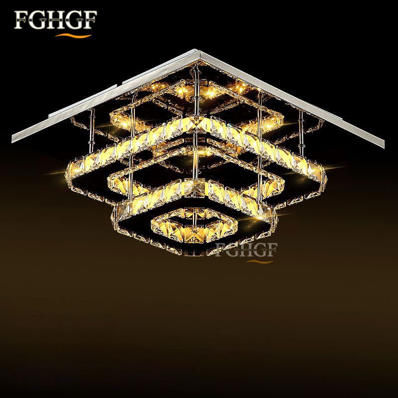 Modern  Crystal LED Ceiling light Square Lustre Luminarias Para Sala LED lamps for home aisle corridor balcony kitchen fixtures led ceiling lights for hallways bedroom kitchen fixtures luminarias para teto black white black ceiling lamp modern