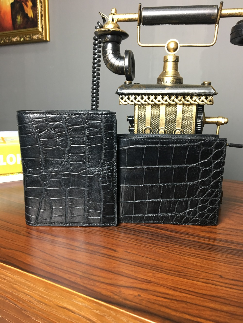 TERSE_Black Friday sale luxury crocodile short wallet womens fashion handmade leather short purse in black with pin pocket