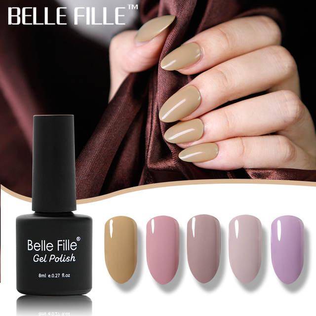 ccb906c2b35 Online Shop BELLE FILLE 8ml Gel Nail Polish Soak Off Nude Pink Color UV Gel  Polish Lacquer Nail Art Vernis Semi Permanant