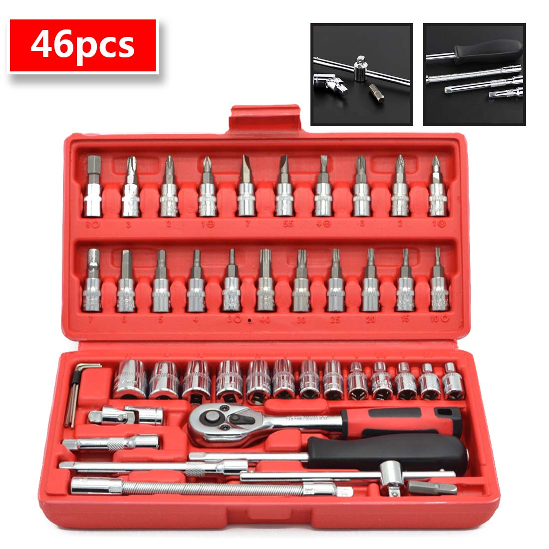 46pcs 1/4-Inch Socket Set Car Repair Tool Ratchet Set Torque Wrench Combination Bit Set Of Keys Chrome Vanadium