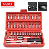 46pcs 1/4-Inch Socket Set Car Repair Tool Ratchet Set Torque Wrench Combination Bit Set of Keys Chrome Vanadium