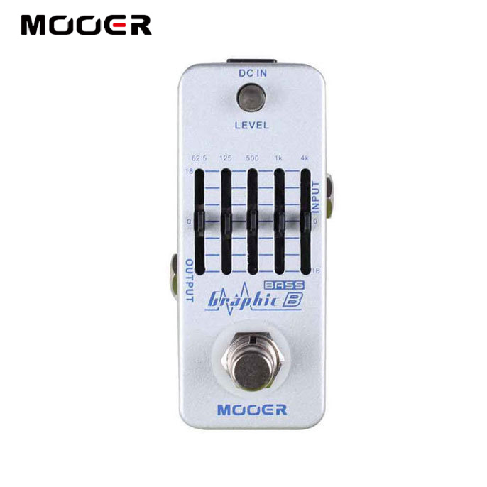 MOOER Graphic B 5 Band Bass Equalizer Pedal 5 Band Graphic EQ with master level control