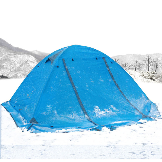 Double Layer 2 Person 4 Season Aluminum Rod Outdoor Camping Fishing Hiking Tent Snow Skirt Barraca Blue Orange Green Ultra-light