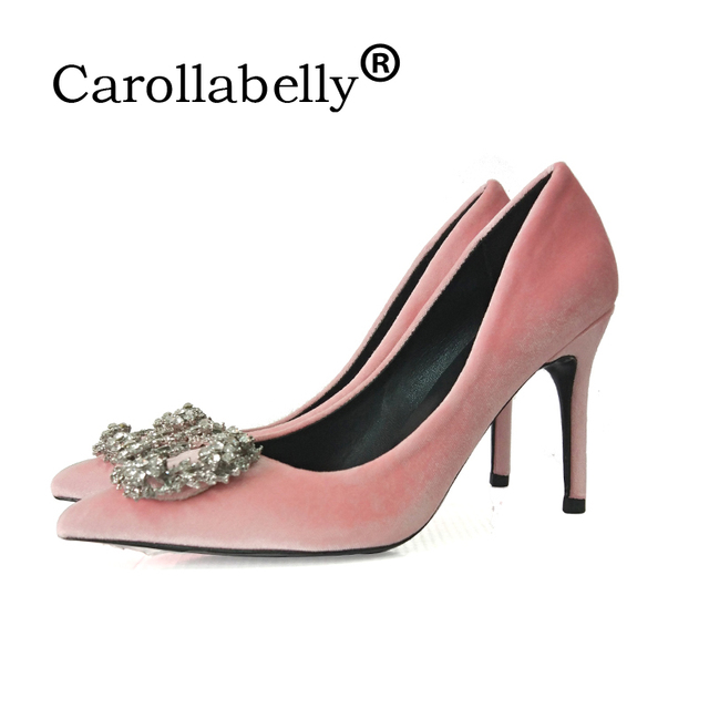 Carollabelly 2018 Women Pumps Fashion Crystal High Heel shoes Female  Wedding Shoes Lady Pointed Toe High heels Dress shoes 663948c3d362