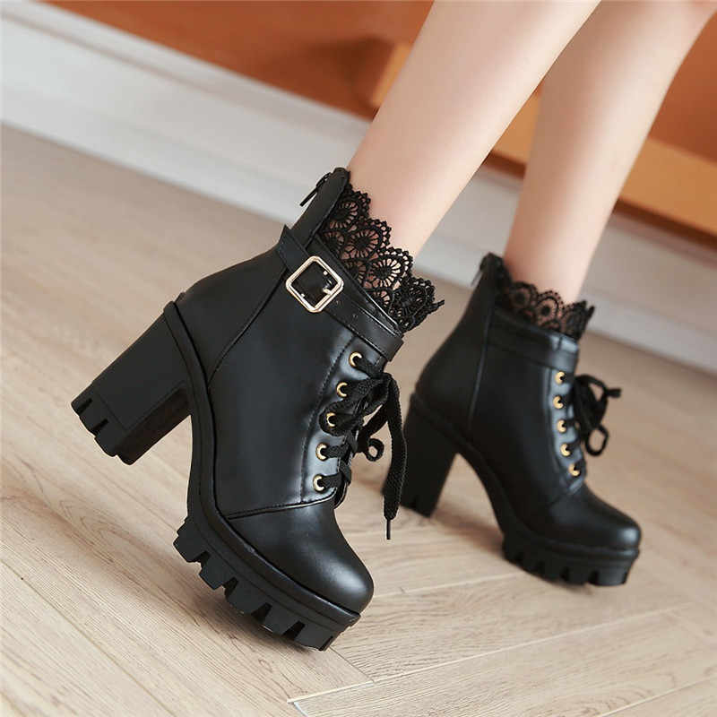 YMECHIC Autumn Ladies Punk Black White Cross Tied Block Heel Shoes Lace Goth Buckle Strap Chunky Heels Motorcycle Ankle Boots
