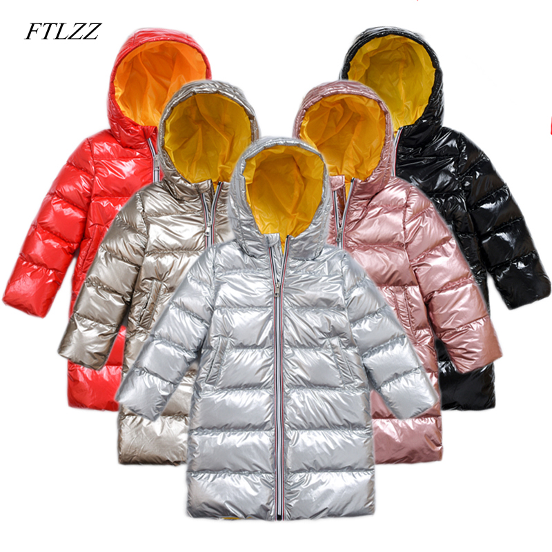 купить FTLZZ Children Silver Jacket Outerwear Boys Girls Long Pattern Down Hooded Coat Teenage Parka Kids Winter Duck Down Jacket по цене 2271.8 рублей