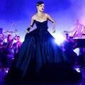 Nova Chegada vestido de Baile Azul Marinho Celebridade Rihanna Vestido Formal 2017 Trem Vestidos No Tapete Vermelho Vestidos de Festa Formal Vestido Longo