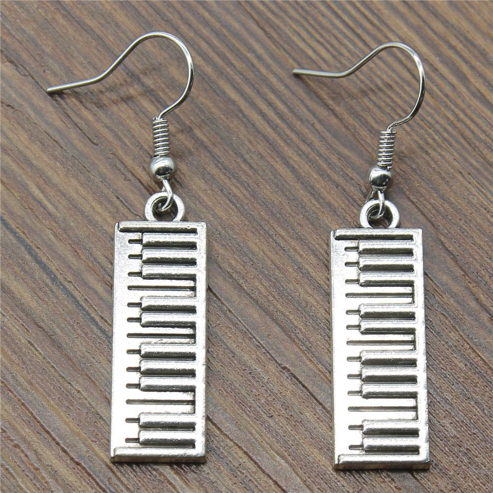 3 pairs Vintage Women Fashion Drop Earrings Simple 30x10mm Piano Keyboard Charming Dangle Earrings