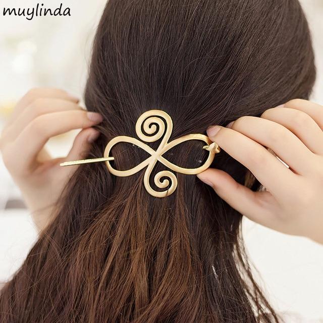 Vintage Flower Metal Hair Slide Sticks Hairpins Branded Design