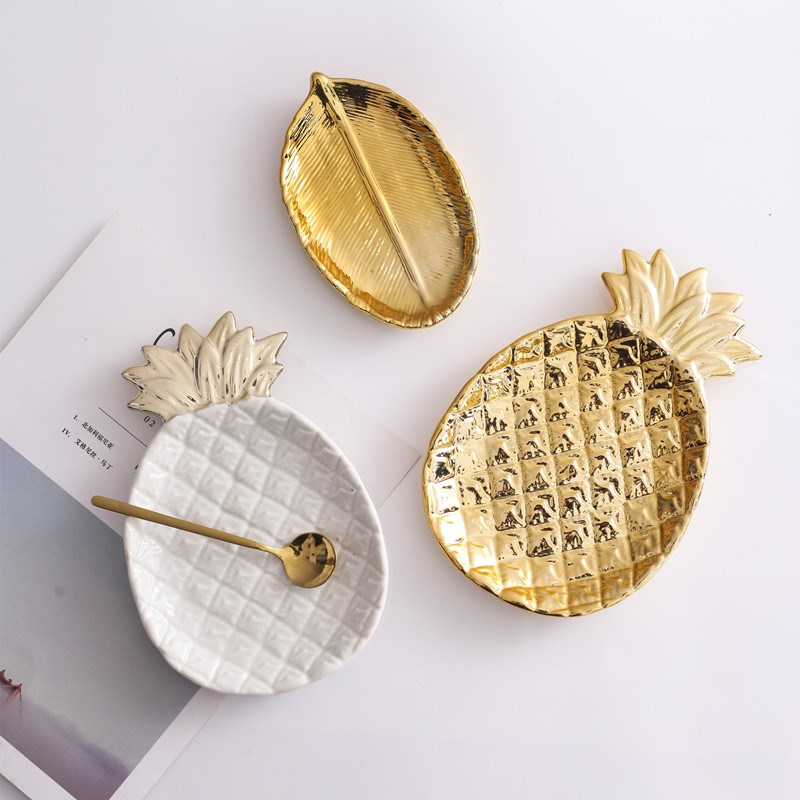 Decorative Gold Pineapple Leaf Ceramic Charger Plate Dish Porcelain Candy Trinket Dish Jewelry Storage Plate Crockery Tableware