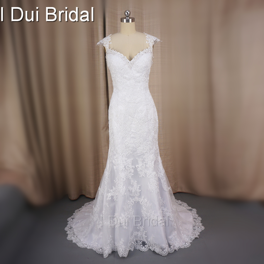 Cap Sleeve Lace Appliqued Mermaid Wedding Dresses Real Photo Court Train High Quality Factory Custom Made