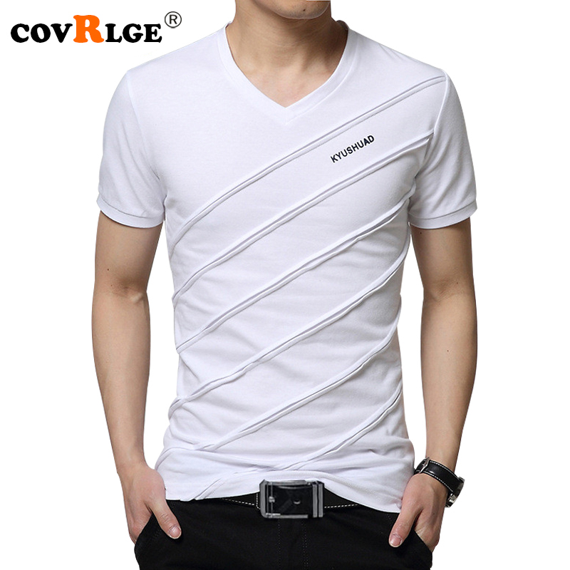 Covrlge 2018 Summer Men Short Sleeve T-shirt Men's V-neck Plus Size 3XL 4XL 5XL Tee Shirt Fitness Slim Fit Camiseta Tops MTS410