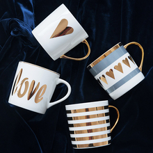 Creative ceramic mugs Gold Painting Porcelain home office cup water glass coffee cup Fine Love Gift