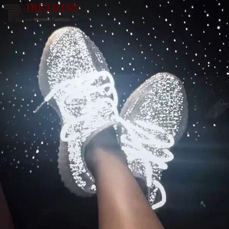 Ritrahini 2019 nouvelle marque d'été Design femmes éclairage maille baskets doublure en cuir grande taille 35-43 plate-forme chaussures femme