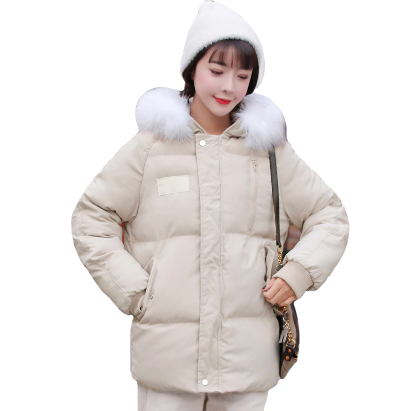 Women Winter Jacket With Fur Collar Hooded Breasted Buttons Short Female   Down     Coat   Outwear Parka Casaco Feminino
