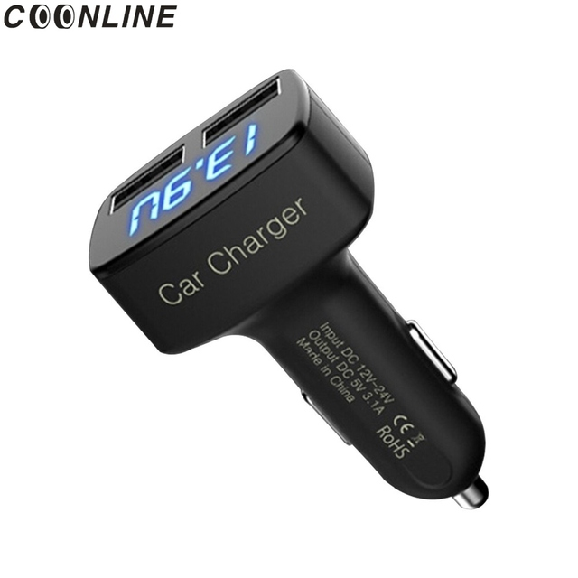 Coonline 4 in 1 Car Charger Dual USB Voltmeter Thermometer Digital Display Charging Cigarette lighter