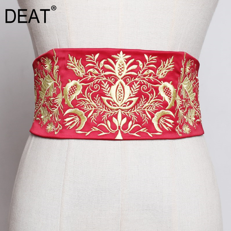 [DEAT] Summer New Retro Women's Back Snow Embroidered Girdle Novelty Belt Strap Elastic Waist And Versatile Girdle Color QJ051