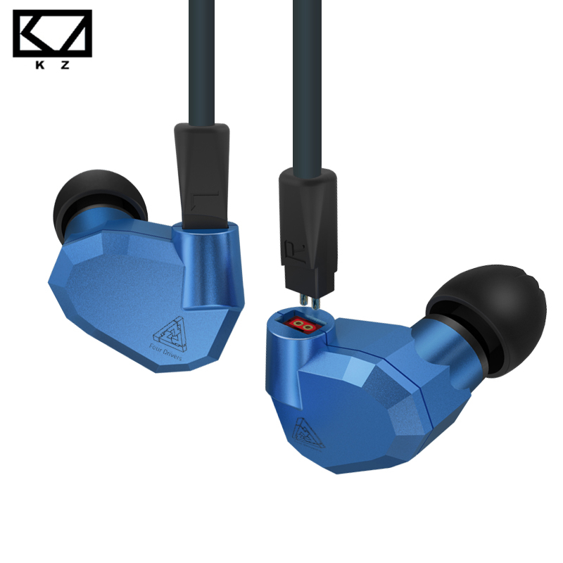 KZ ZS5 Metal Sport Earphone Double Hybrid Daynamic Balanced Armature Four Driver In Ear Headset Noise Isolating HiFi Music MP3 kz ates ate atr hd9 copper driver hifi sport headphones in ear earphone for running with microphone game headset