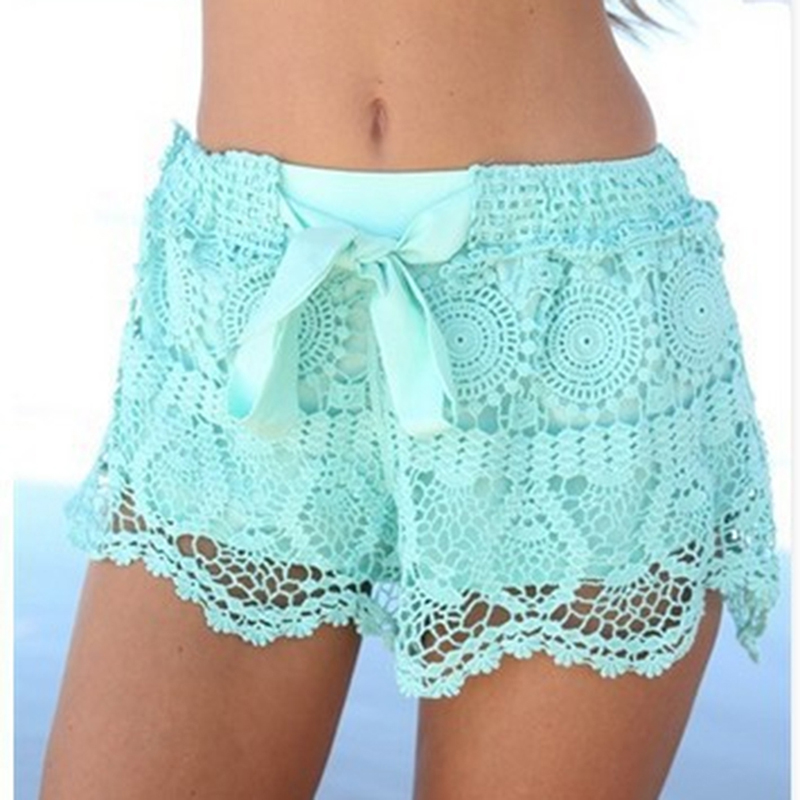 2020 New Summer Fashion Women Shorts Sweet Style Casual White Green Lace Bow Regular Short Pants Female Ladies Shorts Bottoms