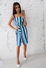 2018 Summer Stripe Retro Fashion Pencil Knee Dress