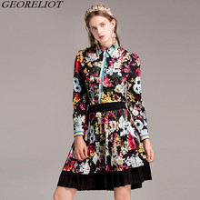 High Quality Runway Designer Two Piece Set Women Floral Print Long Sleeve Shirt Blouse + High Waist Pleated Mini Skirts Suits