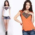 2017 étnico camiseta para las mujeres orange blanco femenino de la vendimia o cuello de manga corta camiseta de algodón superior tradicional china clothing