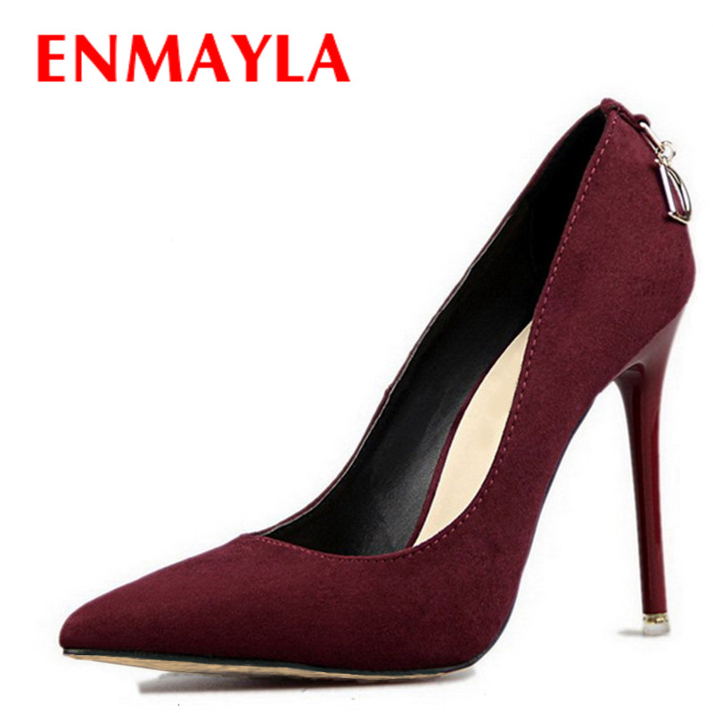 ENMAYLA Stiletto Heels Shoes Woman Plus Size  46 2017 Fashion High Heels Women Pumps Classic White Red Beige Sexy Wedding Shoes classic fashion women s club banquet wedding shoes sexy suede zipper 17 cm in stiletto heels